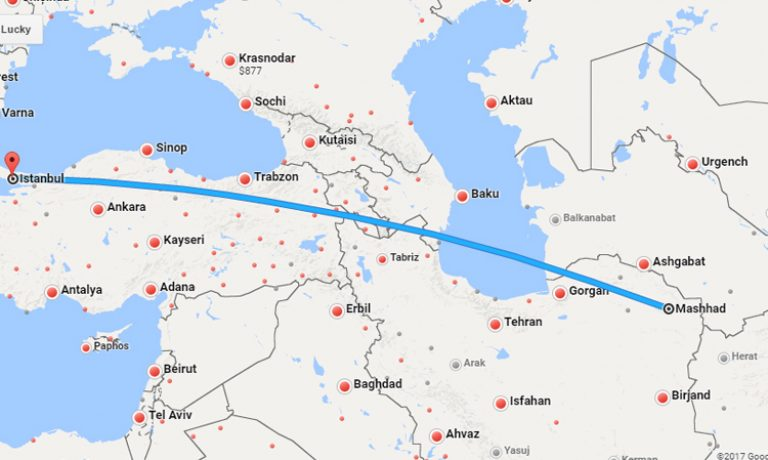 بلیط چارتر مشهد استانبول